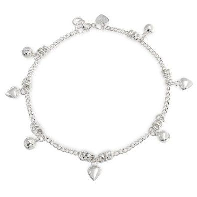 Bling Jewelry 925 Sterling Silver Heart Jingle Bell Charms Anklet 10 Inches
