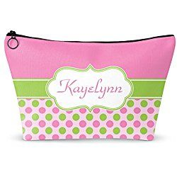 """Pink & Green Dots Makeup Bag - Large - 12""""x8"""" (Personalized)"""