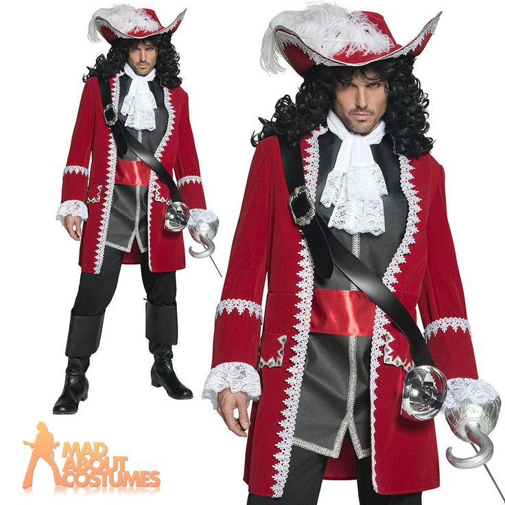 Adult Authentic Pirate Costume Captain Hook Fancy Dress Mens Deluxe Outfit New…
