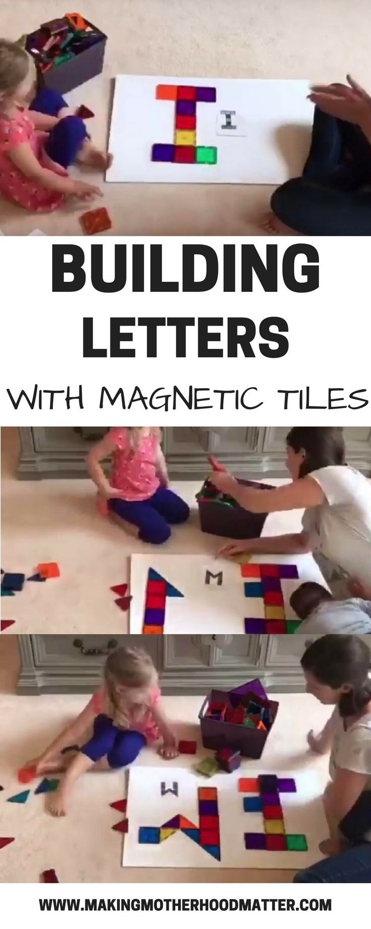 Building Letters with Magnetic tiles (ages 2-4) is so much fun! We printed off a template with all of the letters and had a blast creating each one. This is a great activity for spatial awareness and literacy. Double win! Tap the link to see how we made ours. #handsonlearning #kidsactivity #toddlers #preschooler #activitiesforkids #sensoryplay #learningthroughplay #homeschool #ECE #literacy Via @AmyatMMM