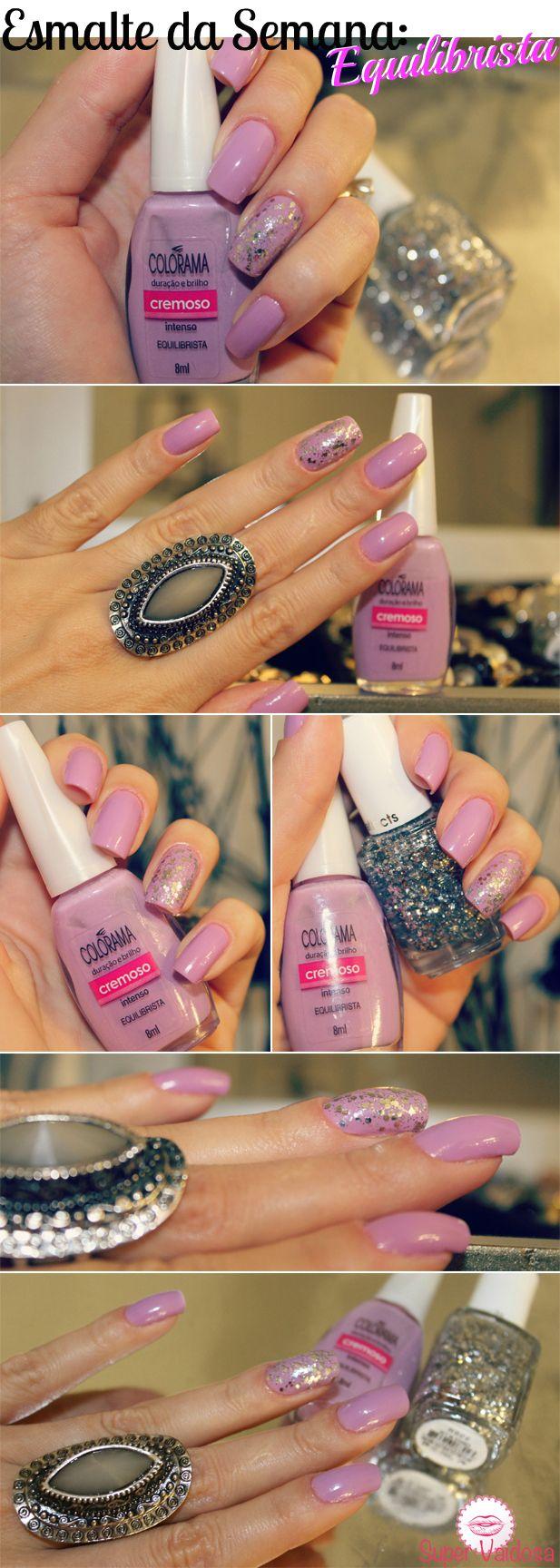 Esmalte lilás com detalhe de glíter no dedo anelar by Camila Coelho