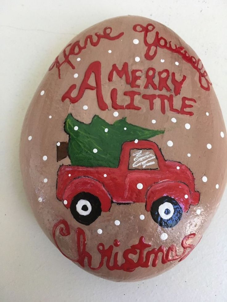 Hand Painted River Rock LITTLE RED TRUCK WITH CHRISTMAS TREE  | eBay