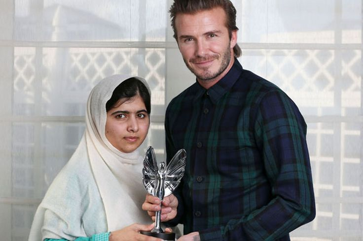 David Beckham awards Malala Yousafzai the Pride of Britain Teenager of Courage award after being shot by Taliban