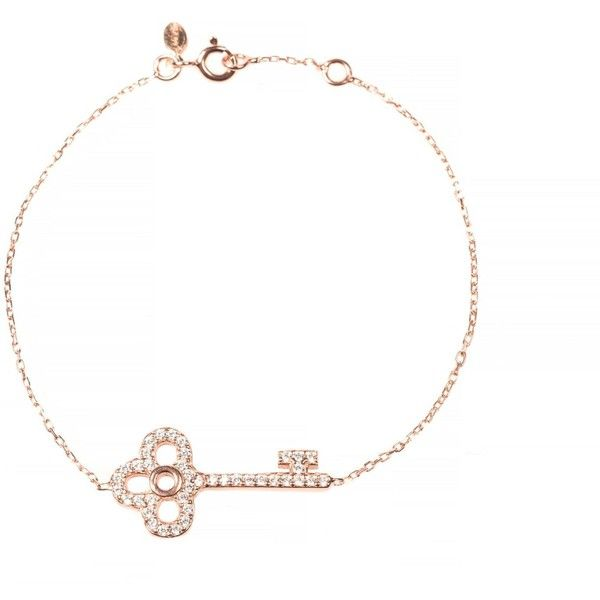 Latelita London - Key Bracelet Rosegold (£26) ❤ liked on Polyvore featuring jewelry, bracelets, pink gold jewelry, letter jewelry, rose gold bangle, adjustable bangle and key bracelet