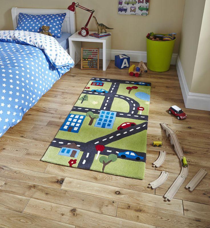 Green Road Scene Children s Rug 70cm x 140cm (2'3 x 4'6 ft)