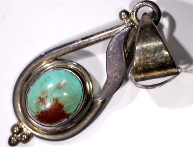 BEAUTIFUL TURQUOISE SILVER PENDANT - 35CTS  TBJ-595  NATURAL TURQOUISE,GEMSTONE  NECKLACE AT GEMROCKAUCTIONS