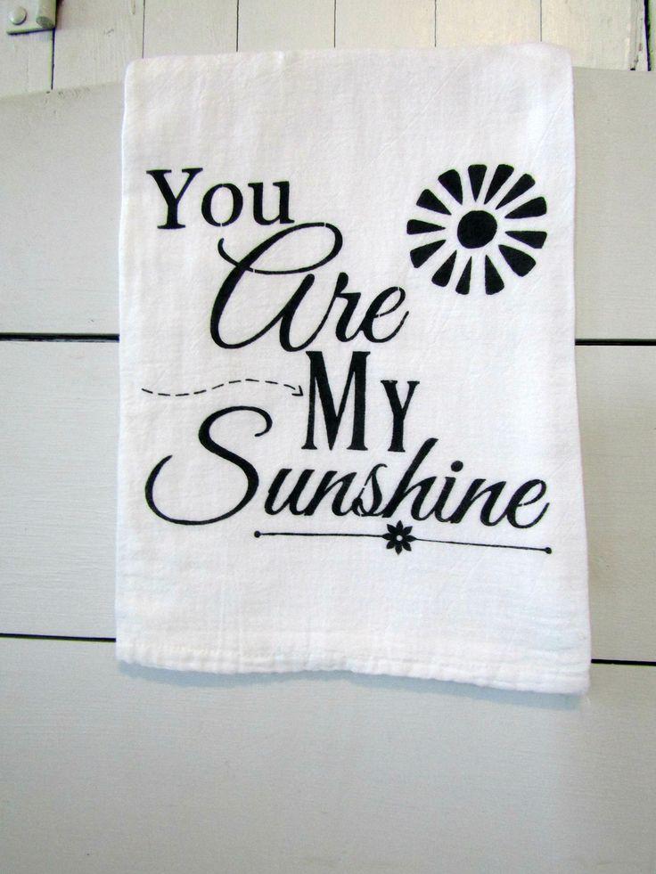 Farmhouse Flour Sack Towel- You Are My Sunshine//Tea Towel//Farmhouse Kitchen Decor//Decorative Flour Sack Towel//Handpainted Tea Towel