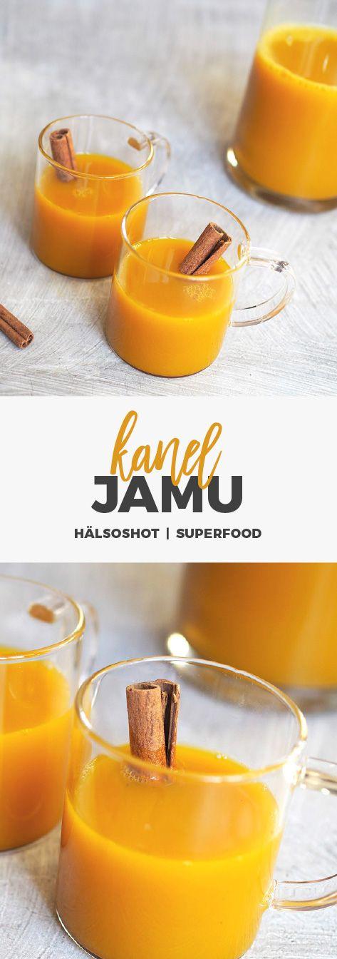 Recept: Jamu med kanel. Indonesisk hälsoshot med kanel, gurkmeja, ingefära, citron och honung