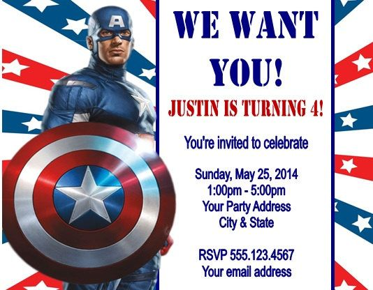 Personalized Captain America Birthday Party Invitations By