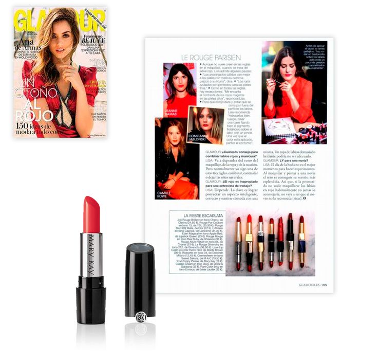 Revista Glamour. Octubre 2016. Lápiz de Labios Gel Semi-Mate Mary Kay®: Poppy Please.