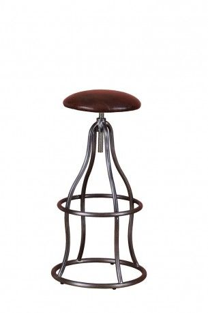 Industrial bar stools, handmade in Real brown Italian leather detail, made for funky bars and hotel seating and industrial design properties, only at Smithers