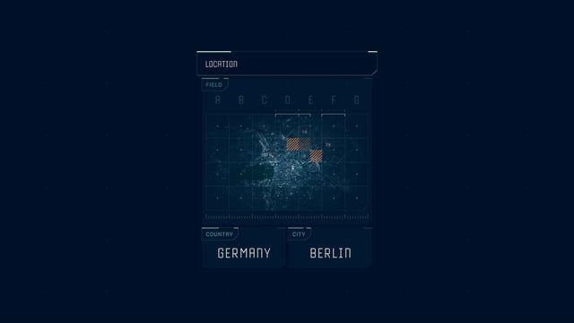 Location - Futuristic UI animation from the Vigilante Drone serie