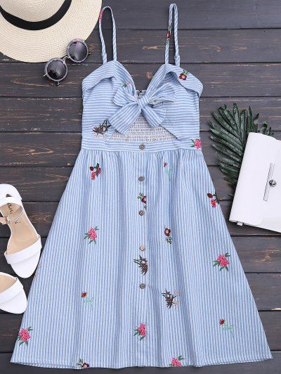 SHARE & Get it FREE | Bowknot Smocked Cut Out Slip Dress - Multicolor XlFor Fashion Lovers only:80,000+ Items • New Arrivals Daily Join Zaful: Get YOUR $50 NOW!