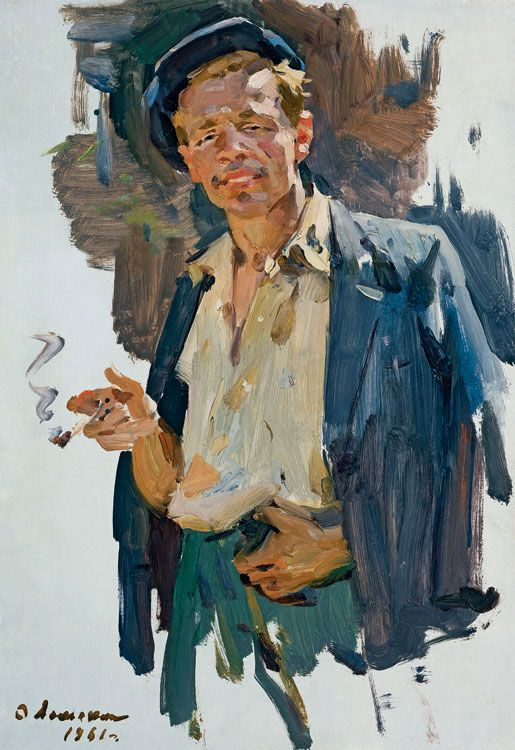 Painting of a man smoking by O. Lomakin of the Leningrad ...
