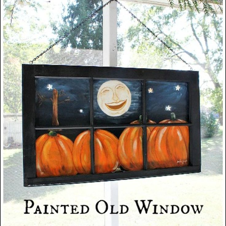 Old Window Painted with a Fall Scene