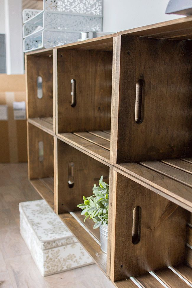 DIY Rustic Crate Storage Wall using unfinished wood crates from JoAnn's or Michaels