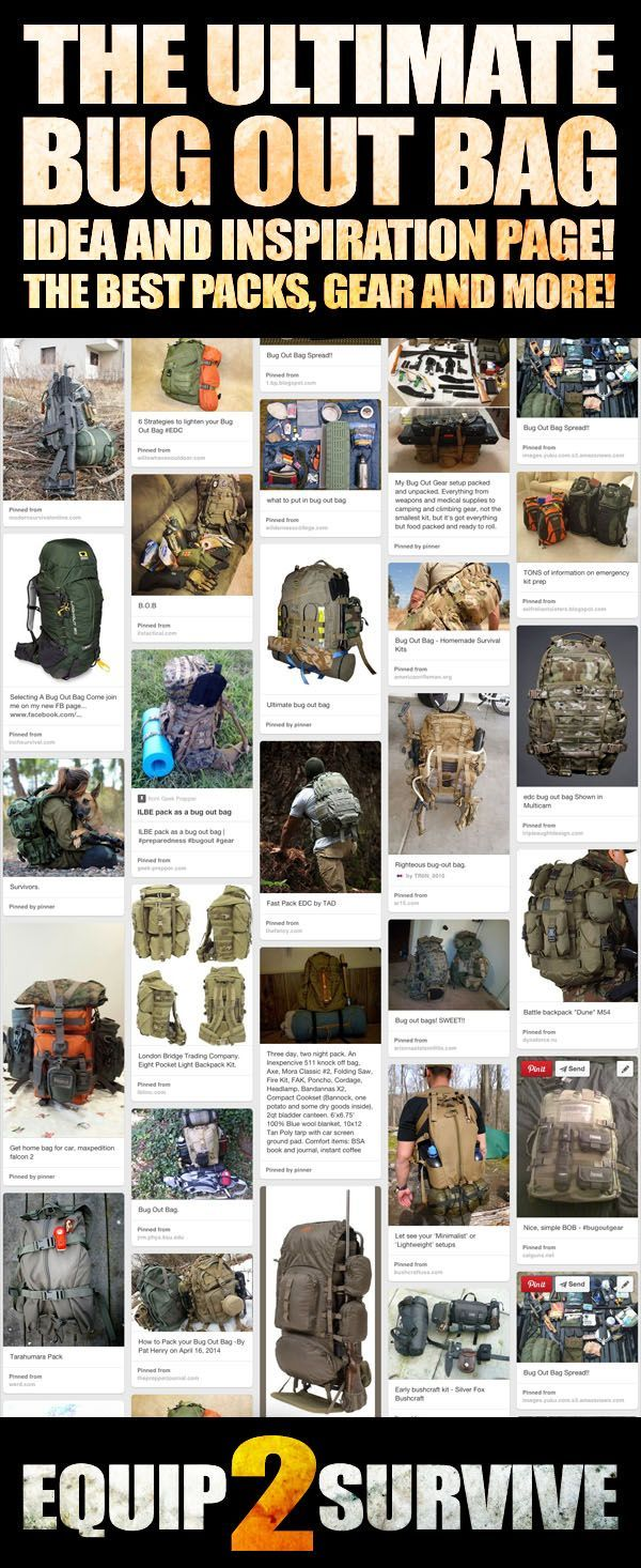 """Check out this """"Ultimate Bug Out Bag"""" page with all kinds of bug out bag ideas, inspiration, tips, tricks, photos, gear and pack recommendations, solutions and more via @equip2survive"""
