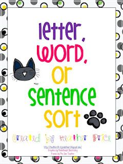 Sort letters, words, and sentences with help from Pete the Cat. Great for Word Study and The Daily 5.