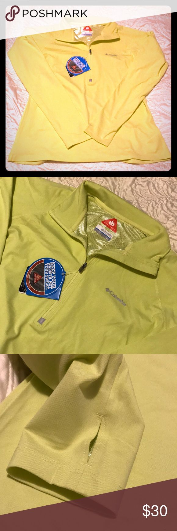 Columbia trail summit half zip long sleeve This shirts has wicking performance pullover with thermal reflectors and 4-way-comfort-stretch fabric. Size large fits true to size. New with tags. This shirt is a very light neon yellow and does look a little yellow green in some lights. FEATURES: Active Fit Reflective detail 4-way comfort stretch Flatlocked construction Omni-Heat™ thermal reflective Omni-Wick™ Thumb holes Columbia Tops Tees - Long Sleeve