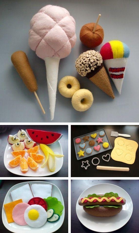 So cute for a little kitchen (felt food tutorials)