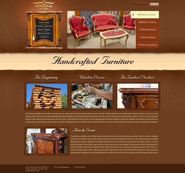 The design of the new site was made up so that it emphasized the quality of the furniture, through design elements taken from the furniture displayed in Simex stores. In the conception of the design, I took into consideration both the marketing message, and the subliminal message conveyed by way of colours and shapes.