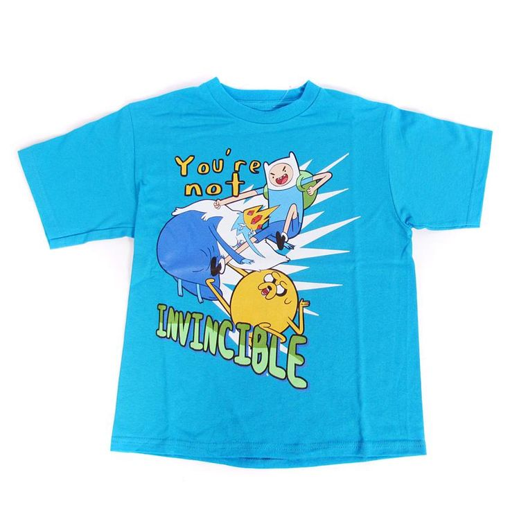 Adventure Time Finn Jake Ice King You're Not Invincible Blue Childrens T-Shirt
