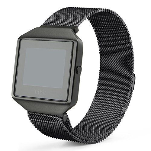 Fitbit Blaze Band with New Metal Frame Hagibis Milanese Loop Stainless Steel Bracelet Strap Magnet Lock Band for Fitbit Blaze Smart Watch-Small Large Black Sliver Rose Gold (Black Large)