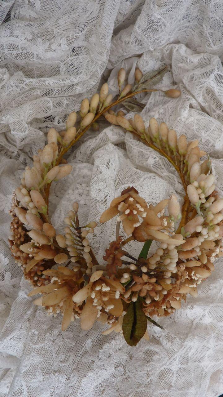 Delicious antique French bride's wax wedding crown