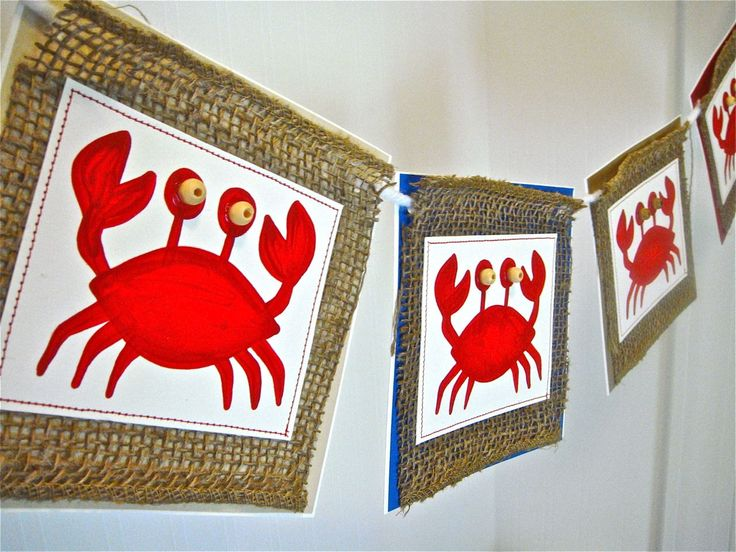 Summer crab banner bunting - looks TOTALLY easy to make!    - burlap  - colored cardstock for the back  - white cardstock to paint the crab on  - red paint & brush  - cream colored beads for the eyes  - red thread (or could just faux it with a red marker and straight edge)  - thick twine or yarn    CUTE!!!!
