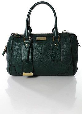 Burberry Dark Green Pebbled Leather Zip Top Satchel Handbag