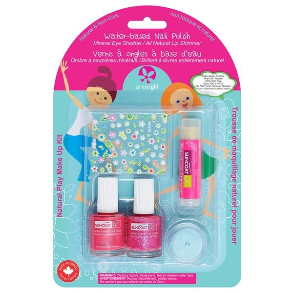 Suncoat $12.99 Little Princess Play Makeup Kit In Suncoat's polish, the chemical solvents are replaced by water. Toluene and formaldehyde-free nail polish is only one step forward while Suncoat water-based nail polish is a revolutionary advance! Suncoat water-based nail polish contains about 70% water.   Includes 0.27 oz. Peelable Nail Polish each of Apple Blossom and Twinkled Purple, Cherry Lip Shimmer 0.15 oz., Baby Blue Powder Mineral Eye Shadow 0.13 oz. and Nail Deca