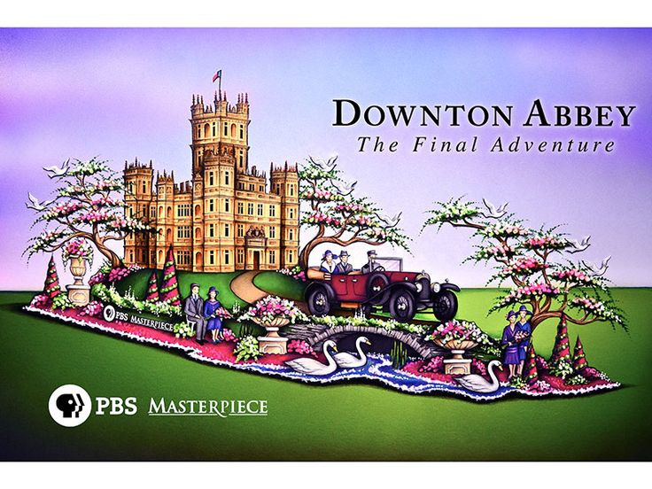 Downton Abbey celebrates its final season on #PBS with a float in the 127th Rose Parade! Pictured here is the official float design recreating the Crawley estate using 60,000 roses.