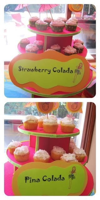 Tiki Hawaiian Party ideas. Yummy tropical cupcakes {Made by a Princess Parties in Style}