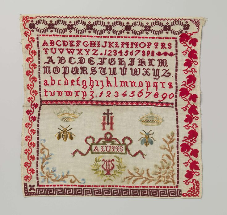 Belgian sampler embroidered with wool and silk, ca. 1870-1880. | Rijksmuseum