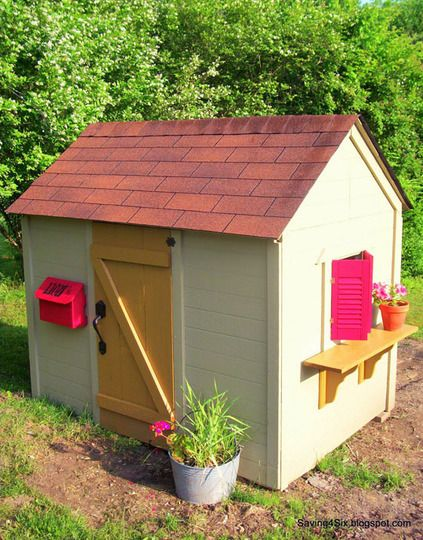 playhouse easy as pie and inexpensive I want it but I want it two stories or at least the bed and the second story!!!