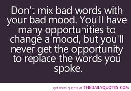 """""""Don't mix bad words with your bad mood. You'll have many opportunities to change a mood, but you'll never get the opportunity to replace the words you spoke."""" I often choose to excuse myself and walk away. Clear my mind and then address the situation. Anger leads nowhere but rather hurts those around you. Those you supposedly care for."""