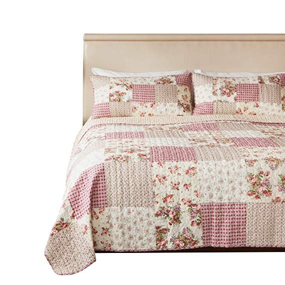 Slpr Country Roses 3 Piece Real Patchwork Cotton Quilt Set Queen With 2 Shams Pre Washed Reversible Machine Bed Spreads Shabby Chic Quilts Quilt Sets Queen