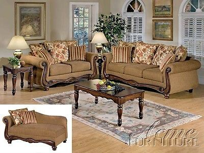 acme olysseus brown floral sofa couch loveseat living room set