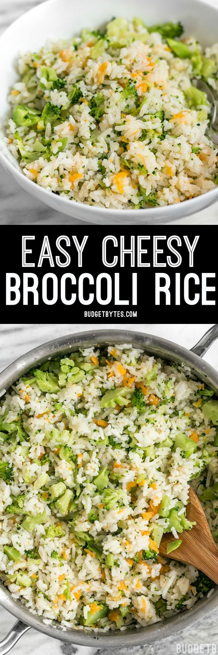 This Easy Cheesy Broccoli Rice is a fast and flavorful side when you don't have time to make a classic Broccoli Cheddar Casserole. @budgetbytes