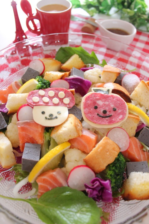 Kids Meal Idea: Cube Salmon and Rich Vegetable Salad Dish 彩りサラダ
