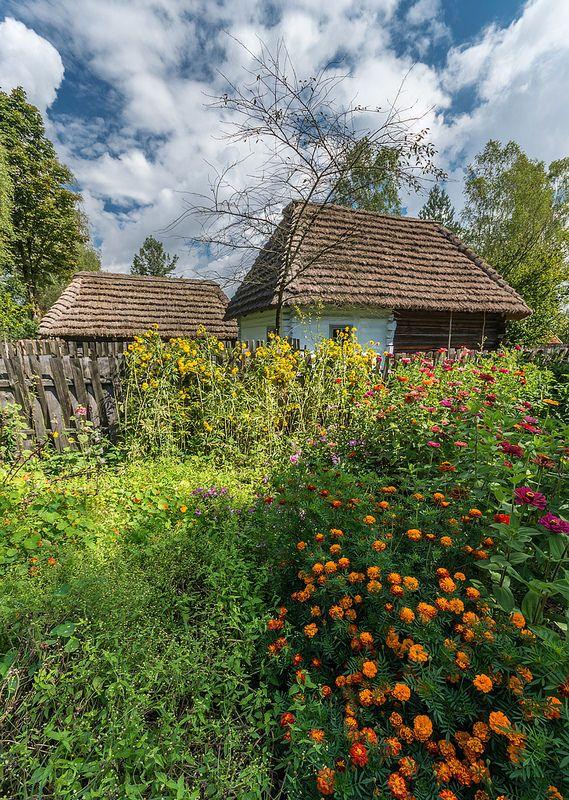 cottage garden.. Kolbuszowa, Poland, Folk open air museum