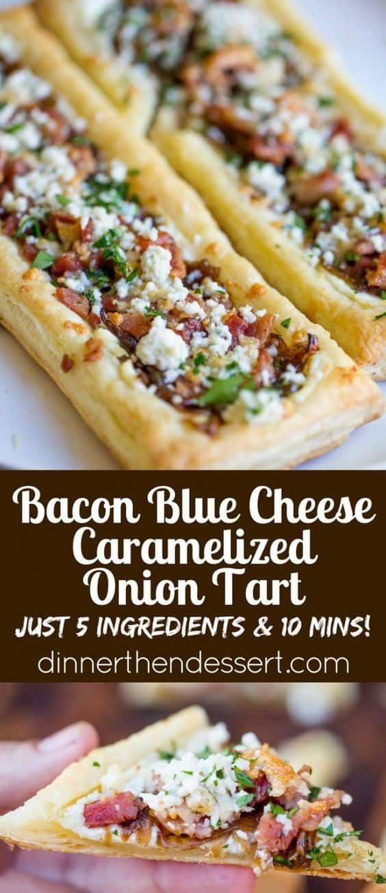Bacon Blue Cheese Caramelized Onion Tart by Dinner then Dessert and other great easy appetizers for a crowd #appetizers #partyfood #fingerfood #partyideas