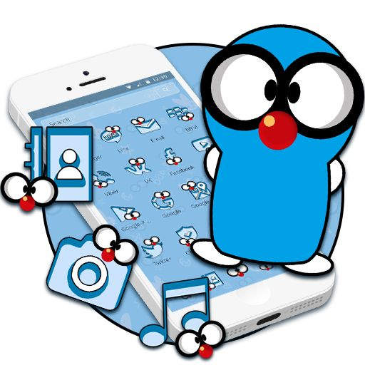 Enjoy this #funny n #cute #blue #cartoon #2d #theme by downloading it on your #android #phone! #cmlauncher #Android #GooglePlay #Samsung #Oppo #Vivo #Nexus #Asus #Lenovo #smartphone #phone #mobile #3d #2d