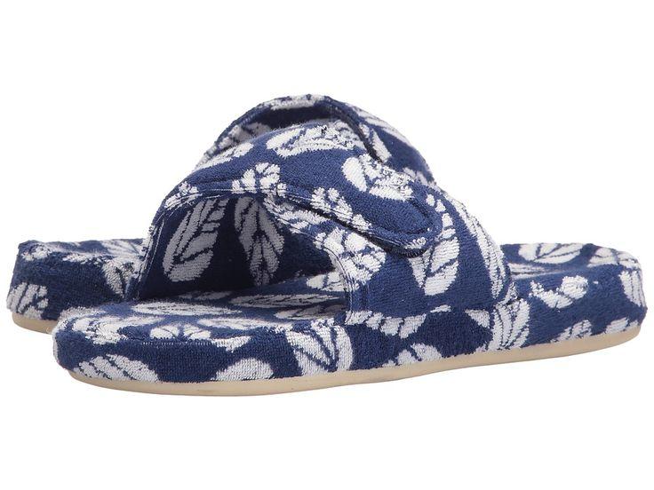 ACORN ACORN - SUMMERWEIGHT SPA COTTON SLIDE (NAVY LEAF) WOMEN'S SLIPPERS. #acorn #shoes #