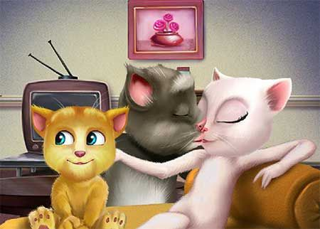 Talking Tom And Angela Kissing game. Talking Tom and Angela will take part in this cat kissing game and you will have to keep an eye out for anyone that might be turning around and catch them off guard. Help the two kiss.