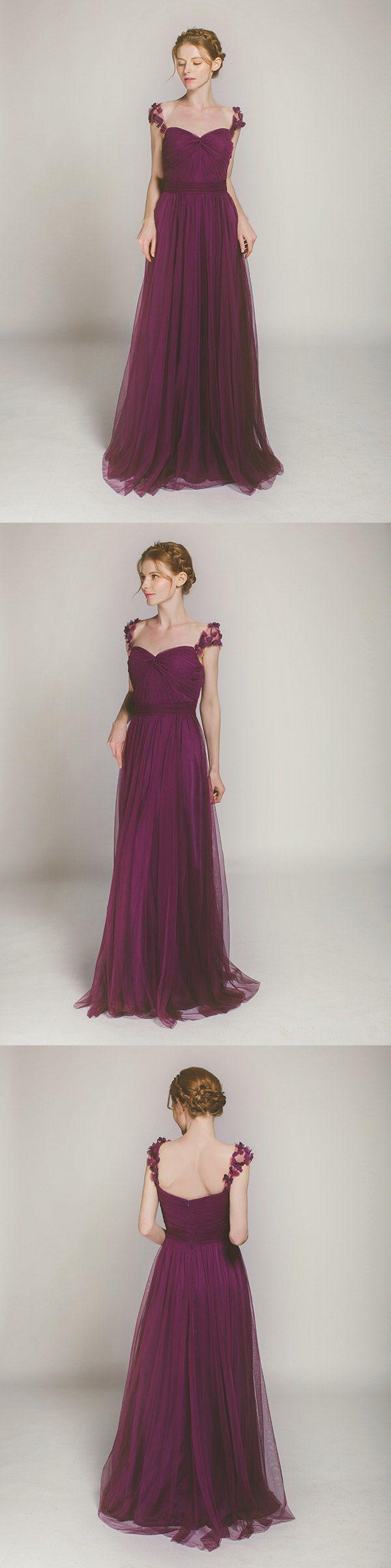 aubergine long tulle bridesmaid dresses for purple themed weddings