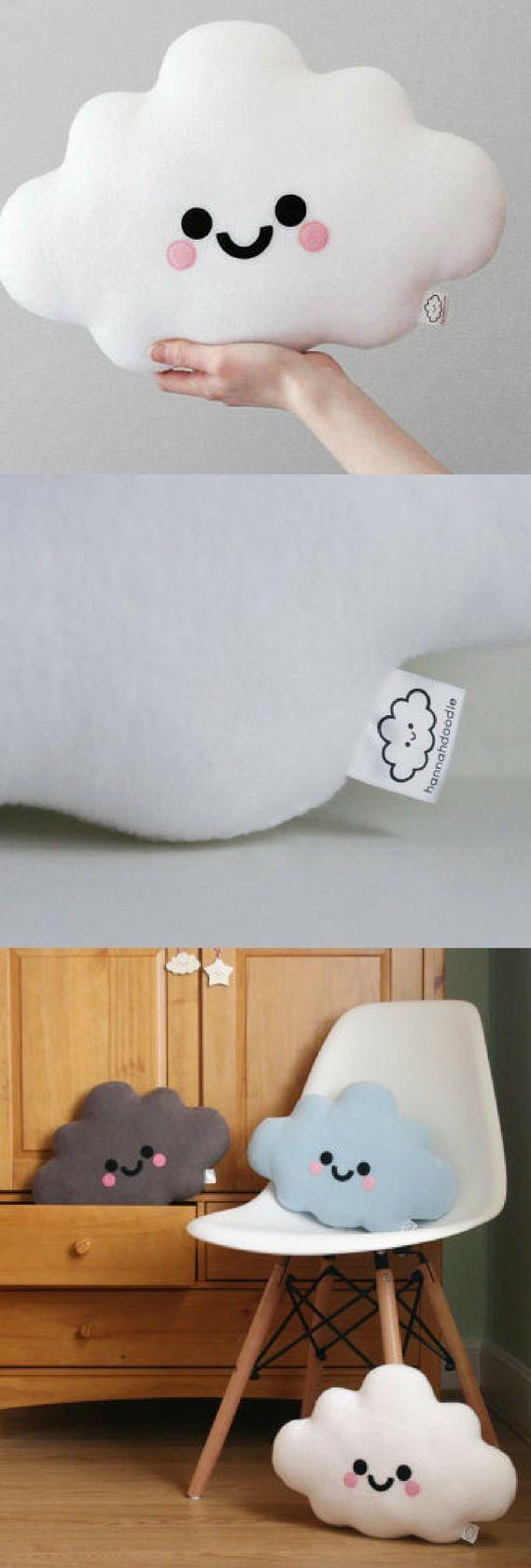 White Cloud Cushion, Nursery Decor, Happy Face Pillow, Kawaii Plushie, Soft Plush Room Accessory #affiliate #cloud #cushion #cloudcushion #pillow #kid #child #cute #nursery #trending