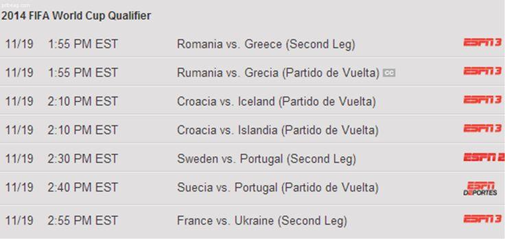 Romania vs. Greece: 2014 World Cup Playoff: 11/19/2013 1:55 PM EST, ESPN3.