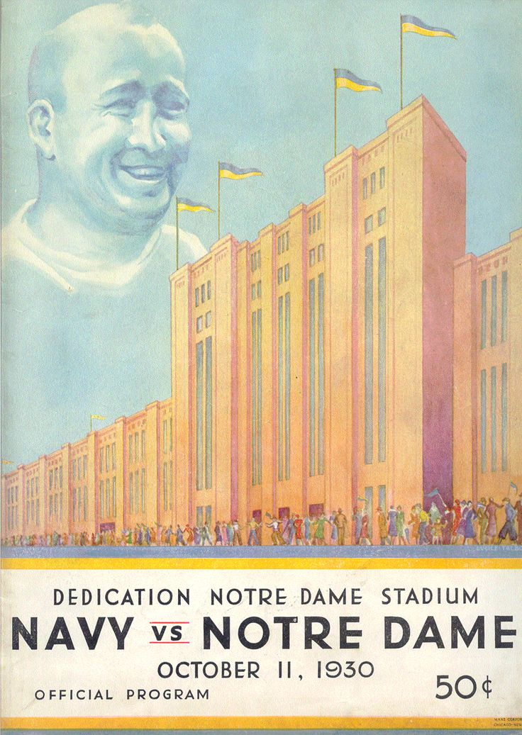 "1930 Navy - Notre Dame football program, Dedication Notre Dame stadium. Like the Irish?  Be sure to check out and ""LIKE"" my Facebook Page https://www.facebook.com/HereComestheIrish Please be sure to upload and share any personal pictures of your Notre Dame experience with your fellow Irish fans!"