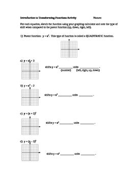 This activity provides an opportunity for students to discover how to transform quadratic, absolute value, and cubic functions using graphing calculators.  Vertical, horizontal, and reflections over the x-axis are covered.  Students work through the activity and have an opportunity to show what they have learned.